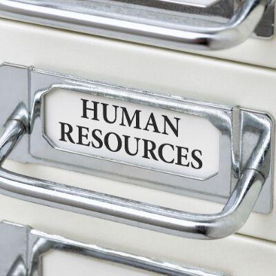 Human Resources labeled desk drawer
